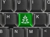 Noël - sapin vert sur touche ordinateur noire