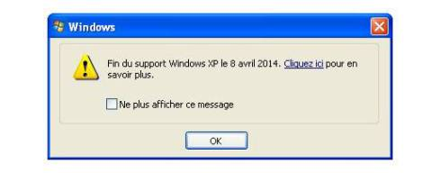 Logiciel - Microsoft - Windows XP - fin support - boîte de dialogue - large