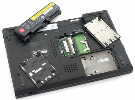 Lenovo - T520 - bottom - emplacements d'extension