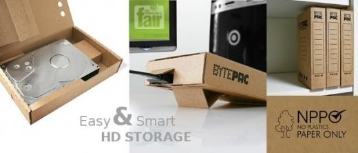 BytePac - boîtier en carton pour disque dur externe