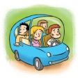 Generique - covoiturage - dessin voiture - 4 personnes dedans