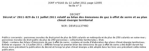 Grenelle II - évaluation des émissions de gaz à effet de serre - décret 2011-829
