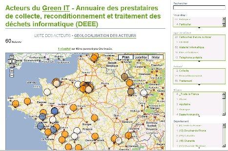 GreenIT.fr - annuaire - sites de collecte des déchets d'équipements électriques et électroniques (DEEE)
