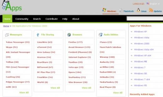 Capture de l'écran d'accueil de Oldapps.com