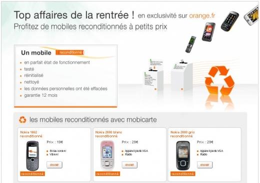 Téléphone - Orange - gamme mobiles reconditionnés