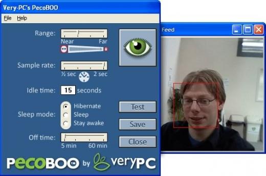 Pecoboo - VeryPC - logiciel - mise en veille par reconnaissance faciale via webcam
