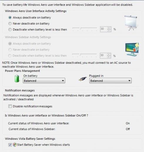 Vista Battery Saver - logiciel d'économie d'énergie pour Windows Vista