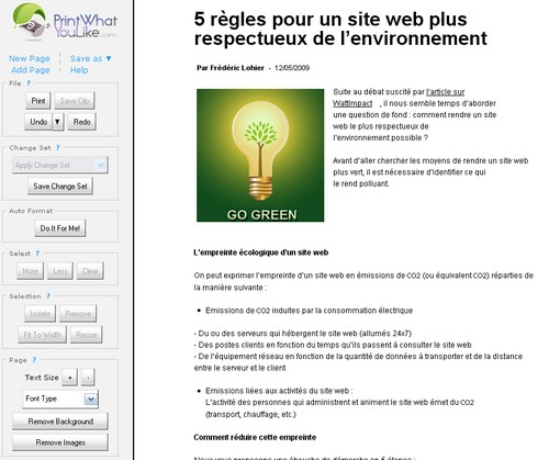 Nettoyage d'un article GreenIT.fr avec PrintWhatYouLike