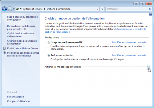 Profils d'alimentation windows Seven