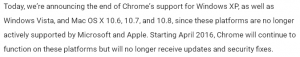 Chrome - fin support XP