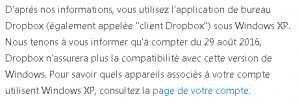 dropbox - arrêt support XP