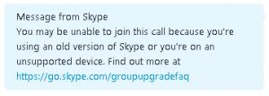 skype - message mise à jour