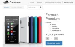 Fairphone 2 à la location sur le site Commown - capture écran